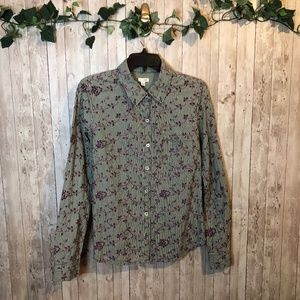 Anthropologie Plaid Embroidered Button Down Top